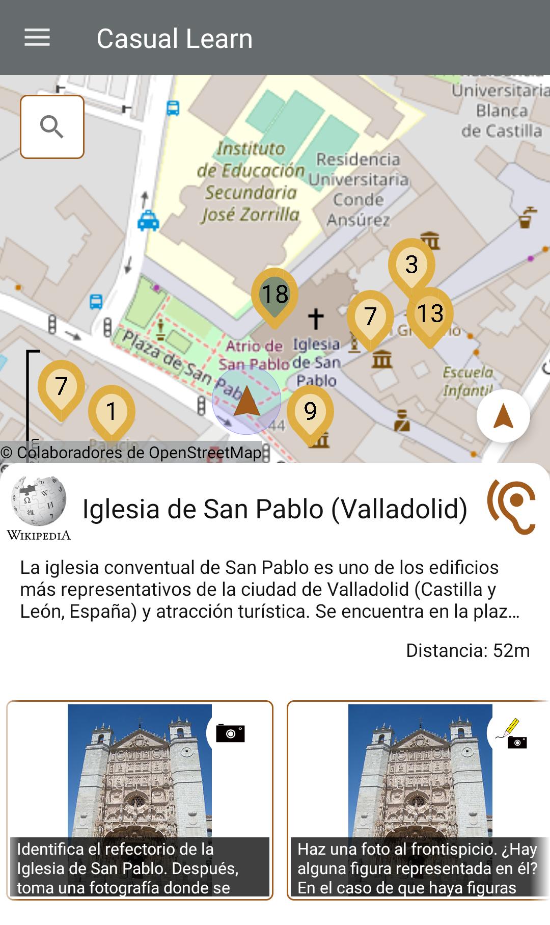 Mapa de Valladolid con puntos de interés